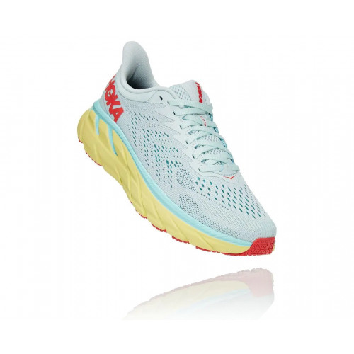 HOKA ONE ONE CLIFTON 7 WOMEN - MORNING MIST/HOT CORAL