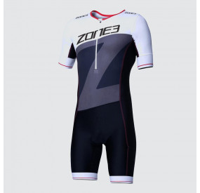 ZONE 3 - MEN'S LAVA LONG DISTANCE SHORT SLEEVE AERO SUIT - BLACK/RED/WHITE